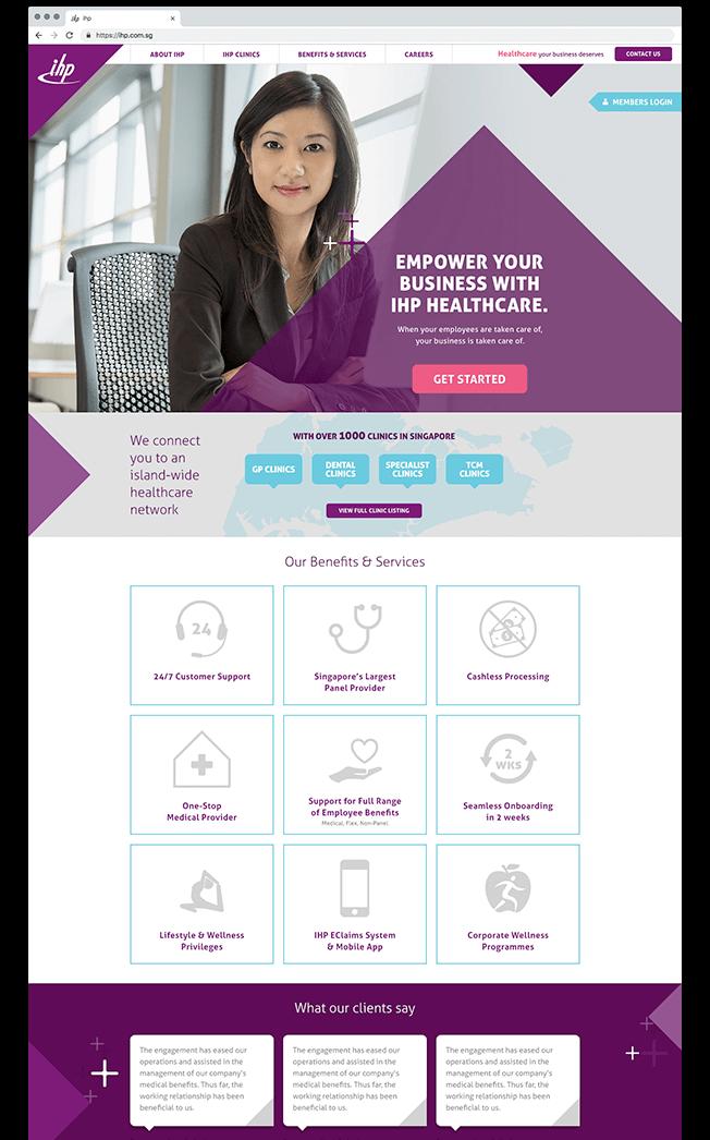 website design for IHP Singapore