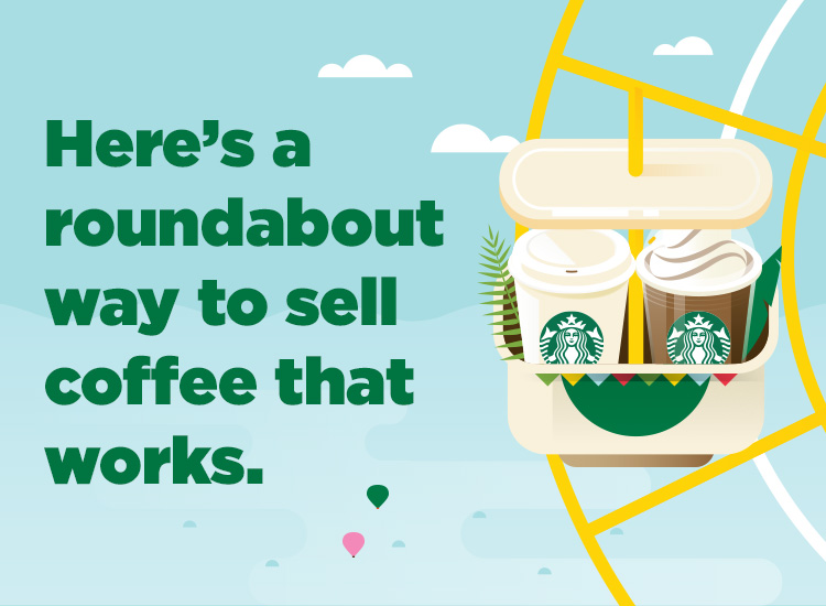Here's a roundabout way to sell coffee that works.