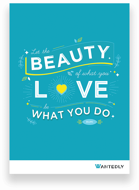 Rumi love what you do quote used to create brand engagement content for Wantedly Singapore