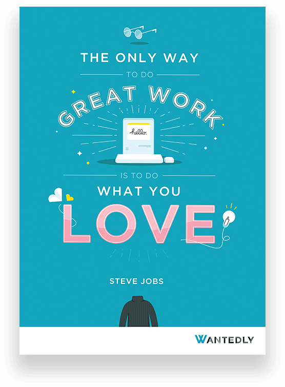 Steve jobs do what you love quote used to create brand engagement content for Wantedly Singapore